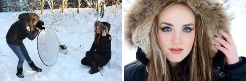 Fotografera med reflexskärm i snön