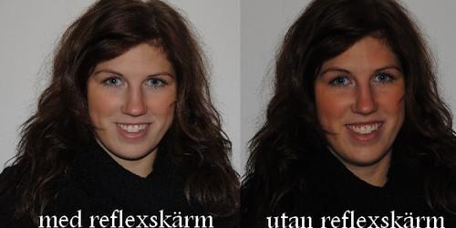 Med och utan Reflexskärm